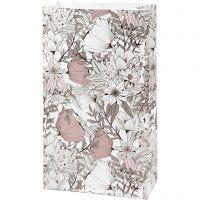 Bolsas de papel, A: 21 cm, medidas 6x12 cm, 80 gr, beige, marrón, rosado, blanco, 8 ud/ 1 paquete