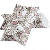 Caja de regalo plegable, Flores, medidas 23,9x15x6 cm, 300 gr, beige, marrón, rosado, blanco, 3 ud/ 1 paquete