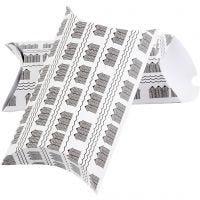 Caja de regalo plegable, Casa de baño, medidas 23,9x15x6 cm, 300 gr, negro, blanco, 3 ud/ 1 paquete