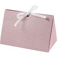 Caja de regalo plegable, Topos, medidas 15x7x8 cm, 250 gr, rosado, blanco, 3 ud/ 1 paquete