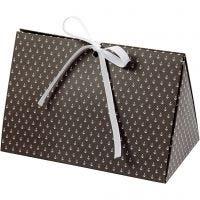 Caja de regalo plegable, Ancla, medidas 15x7x8 cm, 250 gr, gris oscuro, blanco, 3 ud/ 1 paquete