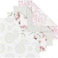Papel Origami, medidas 10x10 cm, 80 gr, verde, gris, rojo claro, blanco, 40 hoja/ 1 paquete