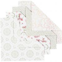 Papel Origami, medidas 15x15 cm, 80 gr, verde, gris, rojo claro, blanco, 40 hoja/ 1 paquete