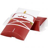 Caja en forma de almohada, Cascanueces, medidas 14,9x9,4x2,5 cm, 300 gr, dorado, rojo, blanco, 3 ud/ 1 paquete