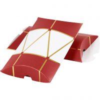 Caja en forma de almohada, Tambor, medidas 14,9x9,4x2,5 cm, 300 gr, dorado, rojo, blanco, 3 ud/ 1 paquete