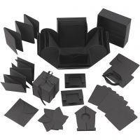 Caja de explosión, medidas 7x7x7,5+12x12x12 cm, negro, 1 ud