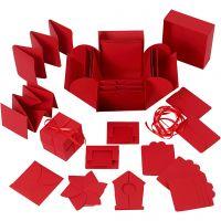 Caja de explosión, medidas 7x7x7,5+12x12x12 cm, rojo, 1 ud