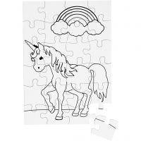 Puzzle, medidas 15x21 cm, blanco, 16 ud/ 1 paquete