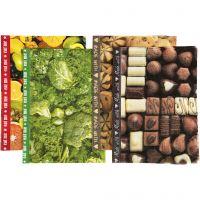 Papel de decoupage, 25x35 cm, 17 gr, marrón, verde, amarillo, 8 hojas stdas/ 1 paquete