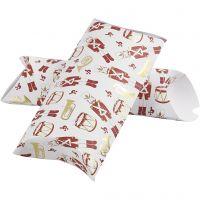Caja en forma de almohada, Cascanueces, medidas 23,9x15x6 cm, 300 gr, dorado, rojo, blanco, 3 ud/ 1 paquete