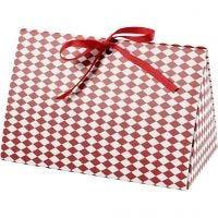 Caja de regalo plegable, Patrón arlequín, medidas 15x7x8 cm, 250 gr, rojo, blanco, 3 ud/ 1 paquete