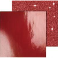 Papel estampado, 30,5x30,5 cm, 120+128 gr, rojo, 2 hoja/ 1 paquete