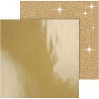 Papel estampado, 30,5x30,5 cm, 120+128 gr, dorado, 2 hoja/ 1 paquete