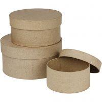 Cajas redondas, A: 5+6,5+7,5 cm, dia: 10+13+16 cm, 3 ud/ 1 set