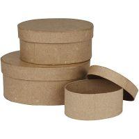 Cajas ovaladas, A: 5+6,5+8 cm, L. 11,5+15+18 cm, 3 ud/ 1 set