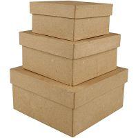 Cajas cuadradas, A: 5+6+7,5 cm, medidas 10+12,5+15 cm, 3 ud/ 1 set