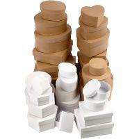 Cajas, medidas 6,5-18 cm, marrón, blanco, 30 ud/ 1 set