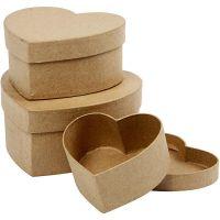 Cajas con forma de corazón, A: 5+6,5+7,5 cm, dia: 10+12,5+15 cm, 3 ud/ 1 set