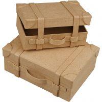 Mini maletas, A: 4,5+5 cm, L. 7.5+10 cm, A: 11+14 cm, 2 ud/ 1 set