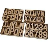 Surtido de letras, números y signos, A: 20,50 cm, grosor 2,5 cm, 160 ud/ 1 paquete