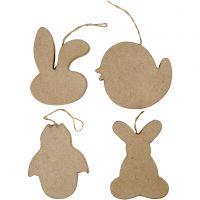 Decoraciones de pascua colgantes, Cabeza de conejo, pollito, pollito en hevo y conejo, A: 10 cm, 4 ud/ 1 paquete