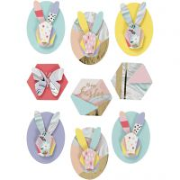Pegatinas 3D, Conejos, A: 30-45 mm, A: 32-35 mm, 9 ud/ 1 paquete