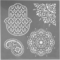 Plantilla, Patrón étnico, medidas 30,5x30,5 cm, grosor 0,31 mm, 1 hoja