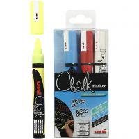 Bolígrafo de Tiza, trazo ancho 1,8-2,5 mm, azul, rojo, blanco, amarillo, 4 ud/ 1 paquete
