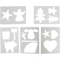 Plantillas con motivos de Navidad, A4, 210x297 mm, blanco, 5 hojas stdas/ 1 paquete