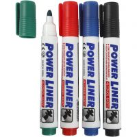 Rotuladores para pizarra, trazo ancho 4 mm, negro, azul, verde, rojo, 4 ud/ 1 paquete