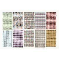 Joyas adhesivas, dia: 4-6 mm, 16x9,5 cm, surtido de colores, 10 hoja/ 1 paquete