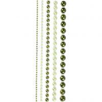 Medias perlas, medidas 2-8 mm, verde, 140 ud/ 1 paquete