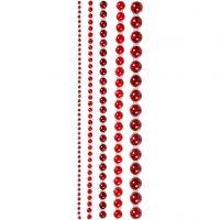 Medias perlas, medidas 2-8 mm, rojo, 140 ud/ 1 paquete