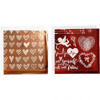 Foil con hoja de transferencia, Corazones y amor, 15x15 cm, rojo, 2x2 hoja/ 1 paquete