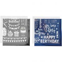 Foil con hoja de transferencia, Cumpleaños, 15x15 cm, azul oscuro, plata, 2x2 hoja/ 1 paquete