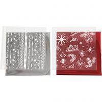 Foil con hoja de transferencia, Navidad mágica, 15x15 cm, rojo, plata, 2x2 hoja/ 1 paquete