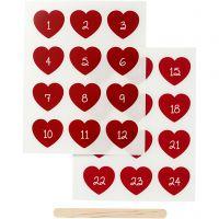 """Pegatinas """"Rub-on"""", Números calendario de adviento, A: 32 mm, A: 28 mm, 12,2x15,3 cm, rojo, 1 paquete"""