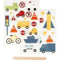 "Pegatinas ""Rub-on"", Transporte, 12,2x15,3 cm, 1 paquete"