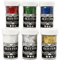 Purpurina-fibras, colores metálicos, 6x20 gr/ 1 paquete