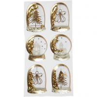 Pegatinas Shaker, Ángel, árbol y casas, medidas 49x32+45x36 mm, dorado, 6 ud/ 1 paquete
