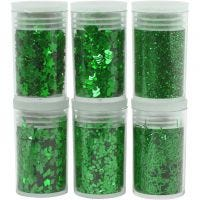 Purpurina y lentejuelas, verde, 6x5 gr/ 1 paquete