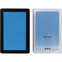 Almohadilla de tinta, A: 2 cm, medidas 9x6 cm, azul cielo, 1 ud