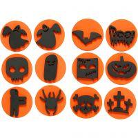 Sellos de foam, Halloween, dia: 7,5 cm, grosor 2,5 cm, 6 ud/ 1 paquete