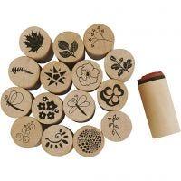 Sellos Deco ART, Flores y hojas, A: 26 mm, dia: 20 mm, 15 ud/ 1 paquete
