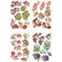 Motivos de decoupage 3D, flores y pájaros, 21x30 cm, 4 hoja/ 1 paquete