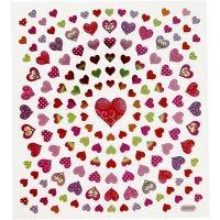 Pegatinas, corazones pequeños, 15x16,5 cm, 1 hoja