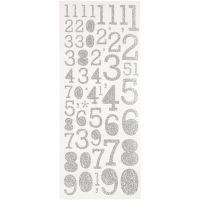 Pegatinas con purpurina, números, 10x24 cm, plata, 2 hoja/ 1 paquete