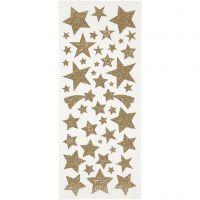 Pegatinas con purpurina, estrellas, 10x24 cm, dorado, 2 hoja/ 1 paquete