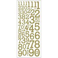 Pegatinas con purpurina, Números, 10x24 cm, dorado, 2 hoja/ 1 paquete