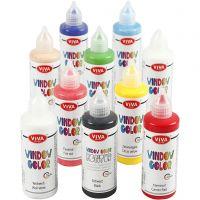 Viva decoración Color de ventana, surtido de colores, 10x90 ml/ 1 paquete